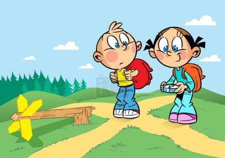 Cartoon travelers