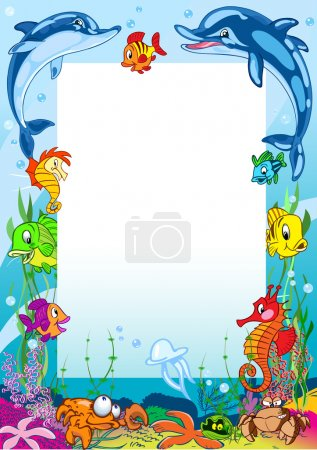 Frame with various sea animals