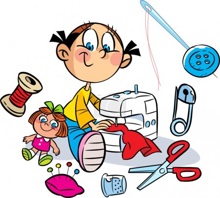 Illustration for The illustration shows a little girl who sews on the sewing machine dress for the doll. Near it shows the various items for sewing. Illustration done in cartoon style, on separate layers. - Royalty Free Image