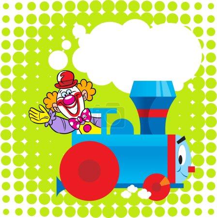 Photo pour L'illustration montre une drôle de locomotive jouet sur fond vert, ainsi qu'un clown de cirque en tant que conducteur. Illustration réalisée dans le style dessin animé pour enfants. Il y a une place pour le texte, sur des calques séparés, dans EPS 10 . - image libre de droit
