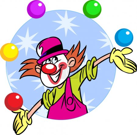 Illustration for The illustration shows a circus clown who juggles balls. Illustration done in cartoon style, on separate layers. - Royalty Free Image