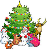 The illustration shows the snowman and Santa Claus who reads the list of holiday gifts for animals on the background of Christmas tree Illustration done in cartoon style isolated on separate layers