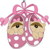 The illustration shows the baby booties with toy teddy bears Illustration done in cartoon style on separate layers