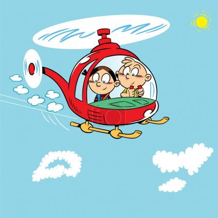 Illustration for The illustration shows two children playing. Boy and girl flying in a helicopter on a background of blue sky with clouds. Illustration on separate layers, in a cartoon style. - Royalty Free Image