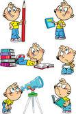 Kreslené chlapce s školních předmětů