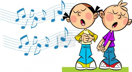 Illustration pour In the illustration cartoon girl and boy sing on  the background symbolic musical notes.  Illustration done in cartoon style, on separate layers. - image libre de droit