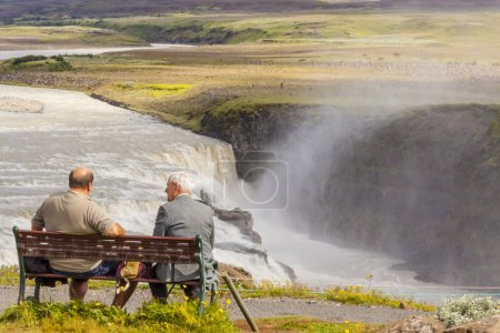 Man on the wooden bench - Iceland.