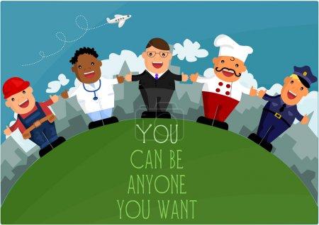Photo pour Vous pouvez être qui vous voulez - différentes professions - image libre de droit