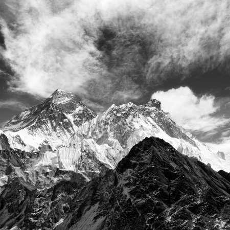 Black and white view of everest from gokyo ri with...