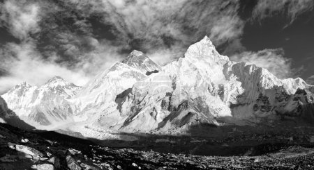 black and white panoramic view of Mount Everest with beautiful sky and Khumbu Glacier