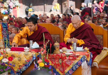 Nepal, Kathmandu, Boudhanath stupa -17th of December 2013: meditation of Tibetan Buddhist Monks during festival