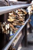 Venice Rialto Bridge - bridge of lovers. Locks as a symbol of love.