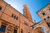 Verona, northern Italy, Ancient Street, the perspective of university walls, arch, Piazza della Signoria, gothic architecture
