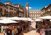 Verona, northern Italy, Piazza delle Erbe & Palazzo Maffei, marketplace