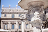 Antique marble fountain in Verona, northern Italy