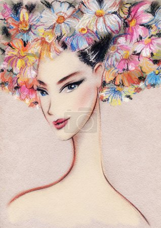 Photo for Beautiful woman. Hand painted fashion illustration - Royalty Free Image