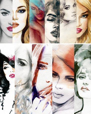 Photo pour Illustration de mode peint à la main - image libre de droit