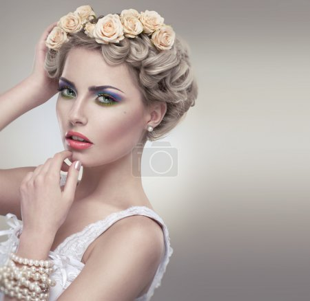 Photo for Tender beauty portrait of bride with roses wreath in hair - Royalty Free Image
