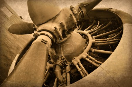 Old aircraft, engine close up