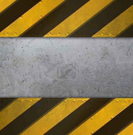 Photo pour Plaque de métal avec des rayures de l'attention - image libre de droit