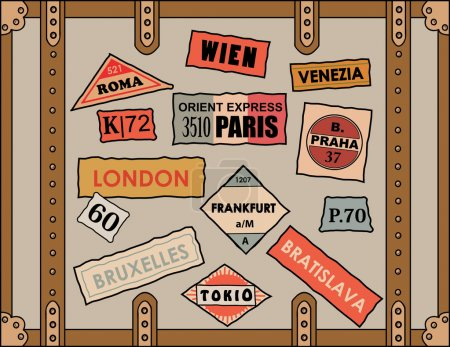 Illustration for Vintage travel stickers on old luggage - Royalty Free Image
