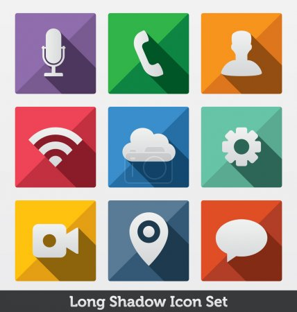 Long Shadow Icon Set, Trendy Design ,