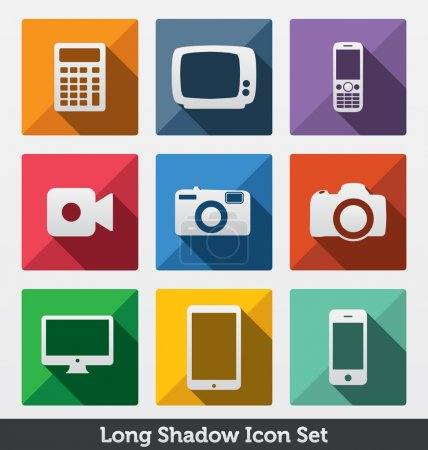 Long Shadow Icon Set, Smart Devices