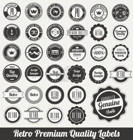 Illustration for Retro Premium Quality Labels - Royalty Free Image