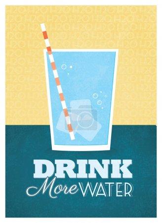 Illustration pour Buvez plus d'eau Poster Design - image libre de droit
