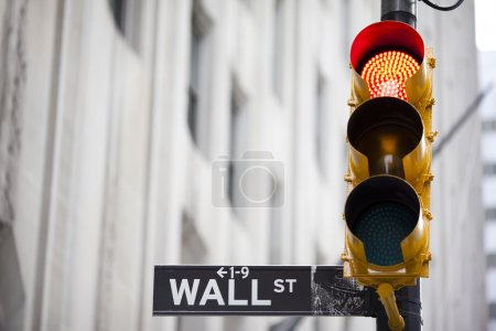 Photo for Wall street and red traffic light - Royalty Free Image