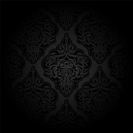 Illustration for Luxury seamless charcoal gothic pattern. Dark wallpaper - Royalty Free Image