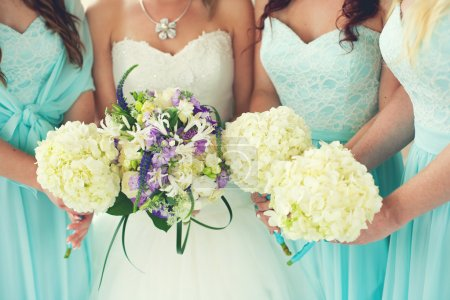 Close up of bride and bridesmaids bouquets...