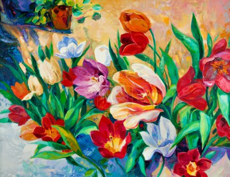 Photo for Original oil painting of beautiful vase or bowl of fresh flowers. on canvas.Modern Impressionism - Royalty Free Image
