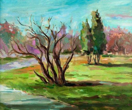 Photo pour Peinture à l'huile original du paysage de la beauté de la nature sur l'impressionnisme canvas.modern - image libre de droit