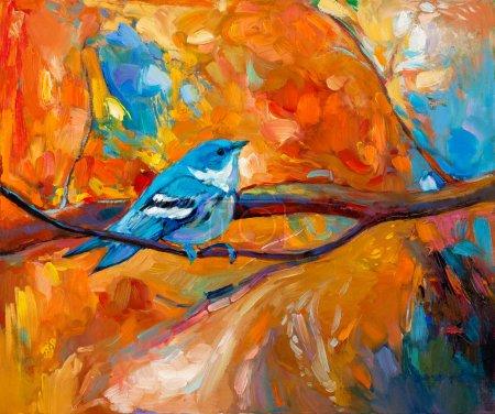 Photo pour Peinture à l'huile originale d'oiseau chanteur Paruline azurée bleue sur l'impressionnisme canvas.modern - image libre de droit