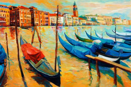 Photo for Original oil painting of beautiful Venice, Italy on sunset.gondolas and houses on canvas.Modern Impressionism - Royalty Free Image