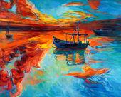 """Постер, картина, фотообои """"лодки"""""""