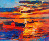 """Постер, картина, фотообои """"закат по океану"""""""