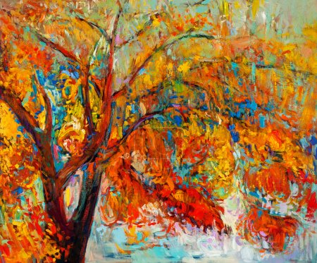 Photo for Original oil painting showing beautiful Autumn tree. Modern Impressionism - Royalty Free Image