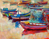 """Постер, картина, фотообои """"Лодки и океан"""""""