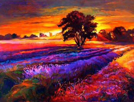 Photo pour Peinture à l'huile originale de champs de lavande sur toile.Paysage décontracté.Impressionnisme moderne - image libre de droit