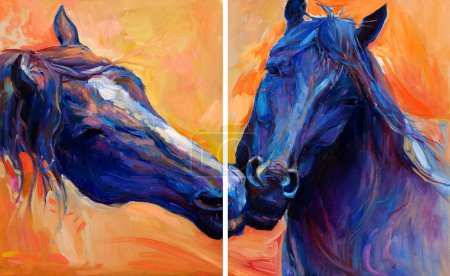 Photo for Original abstract oil painting of  beautiful blue horses.Modern Impressionism.Painting is related to year 2014-year of the blue horse - Royalty Free Image