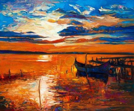 Photo pour Peinture à l'huile originale de bateaux et jetty(pier) sur canvas.rich or coucher du soleil sur l'impressionnisme ocean.modern - image libre de droit