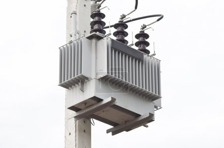 ELECTRICAL SUB STATION TRANSFORMER AS WHITE ISOLATE BACKGROUND