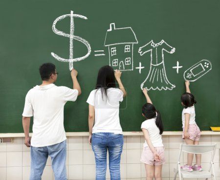 Family drawing money house clothes and video game symbol on the