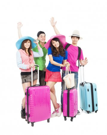 Happy young group enjoy summer vacation and travel
