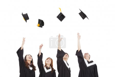 Photo for Happy young graduate students group throwing the hat - Royalty Free Image