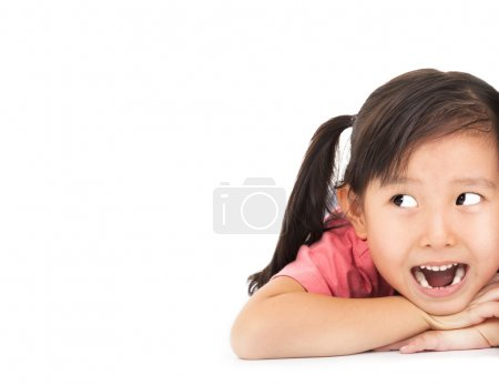 Photo for Close up surprised face of little girl looking something - Royalty Free Image