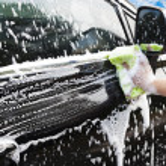 Hands hold sponge for washing car...