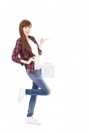 Photo for Happy young woman hand pointing something - Royalty Free Image